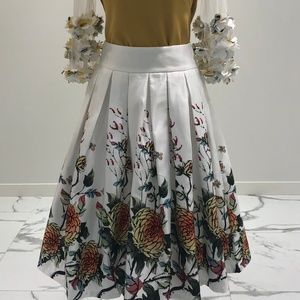Oriental printing gathered skirt